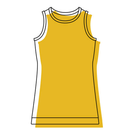 yellow watercolor silhouette of t-shirt without sleeves men vector illustration Illustration