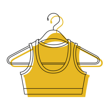 Yellow watercolor silhouette shirt top for women in clothes hanger vector illustration
