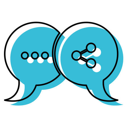 blue watercolor silhouette of pair speech bubbles with symbols of ellipsis and network vector illustration Illustration