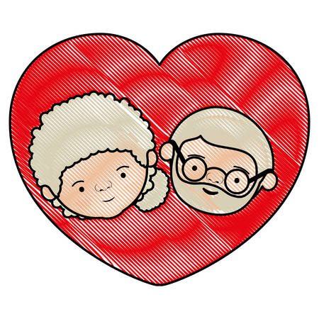 bun: color crayon silhouette heart shape greeting card with caricature face of grandmother with side bun hair and bearded grandfather with glasses vector illustration