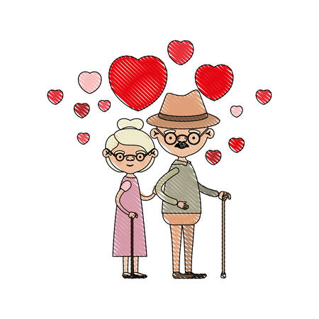 color crayon silhouette of caricature full body elderly couple embraced with floating hearts grandfather with hat in walking stick and grandmother with collected hair and glasses vector illustration