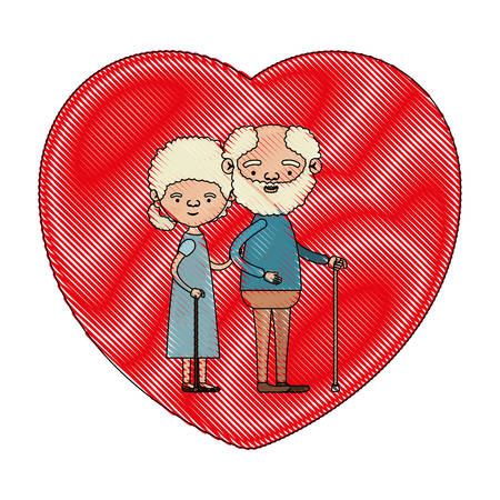 embraced: color crayon silhouette of heart shape greeting card with caricature full body elderly couple embraced bearded grandfather in walking stick and grandmother with curly collected hair vector illustration