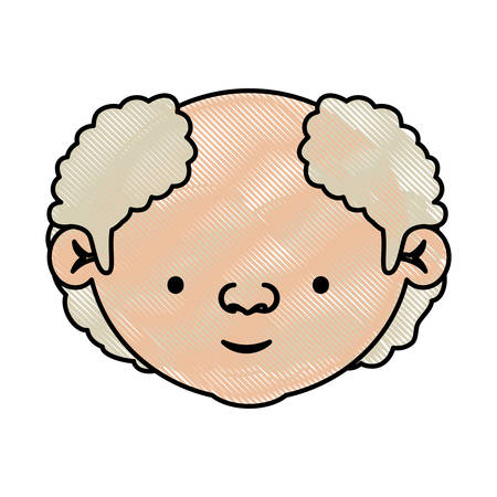 color crayon silhouette of face elderly man with a few curly white hair vector illustration