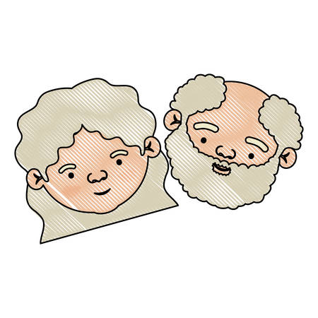 color crayon silhouette of face of elderly couple grandmother with curly medium hairstyle and grandfather with beard vector illustration
