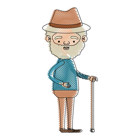 color crayon silhouette of full body elderly man in walking stick with curly beard and hat vector illustration Illustration