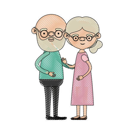 color crayon silhouette of full body couple elderly of bald grandfather with beard and glasses with grandmother with bun side hair in dress vector illustration