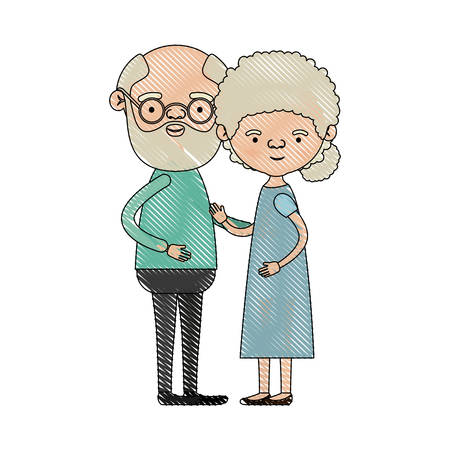 color crayon silhouette of full body couple elderly of bald grandfather with glassses and beard with grandmother with curly bun hair in dress vector illustration Illustration
