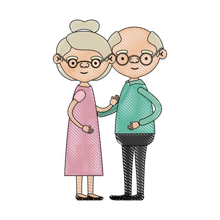 color crayon silhouette of full body couple elderly of grandmother with collected hair in dress and bald grandfather with glasses vector illustration