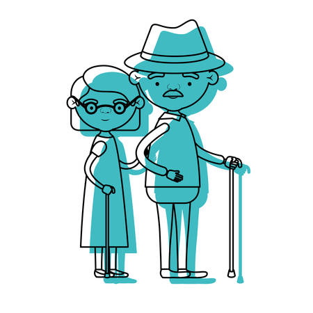 blue watercolor silhouette of full body elderly couple in walking stick grandmother short hairstyle in dress and grandfather with hat and moustache vector illustration