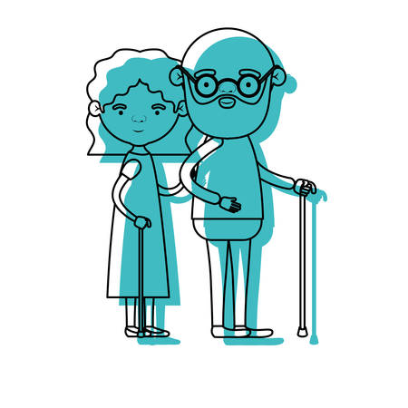 blue watercolor silhouette of full body couple elderly in walking stick of grandmother with wavy hair in dress and bald bearded grandfather with glasses vector illustration