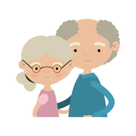 light color silhouette of half body couple elderly of grandmother with collected side hairstyle with grandfather with curly hair and glasses vector illustration
