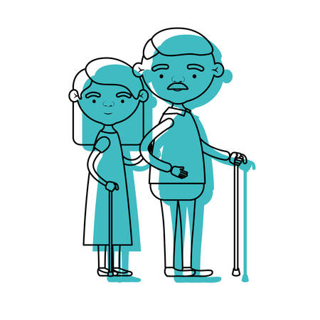 blue watercolor silhouette of full body elderly couple in walking stick grandmother straight hairstyle in dress and grandfather with moustache vector illustration