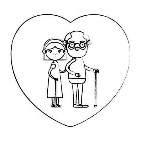 blurred silhouette of heart shape greeting card with caricature full body elderly couple embraced grandfather in walking stick and grandmother with bow lace and straight hair vector illustration Illustration