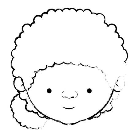 blurred silhouette of face grandmother with a curly bun side hair vector illustration Illustration