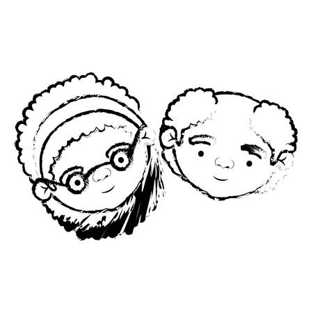 blurred silhouette of face of elderly couple grandmother with bow lace curly hairstyle and grandfather with few beard hair vector illustration