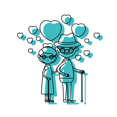 caricature full body elderly couple embraced with floating hearts grandfather with hat in walking stick and grandmother with collected hair and glasses in blue watercolor silhouette vector illustration Illustration