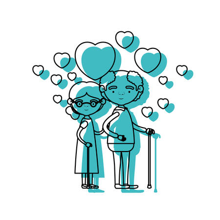 embraced: caricature full body elderly couple embraced with floating hearts grandfather in walking stick and grandmother with collected hair and glasses in blue watercolor silhouette vector illustration Illustration