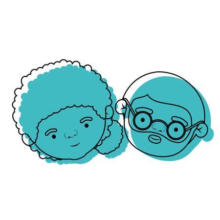 face of elderly couple grandmother with curly collected side hairstyle and grandfather with beard and glasses in blue watercolor silhouette vector illustration