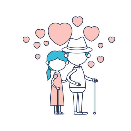 faceless caricature full body elderly couple embraced with floating hearts grandfather with hat in walking stick and grandmother with side ponytail hair in color section silhouette vector illustration Illustration