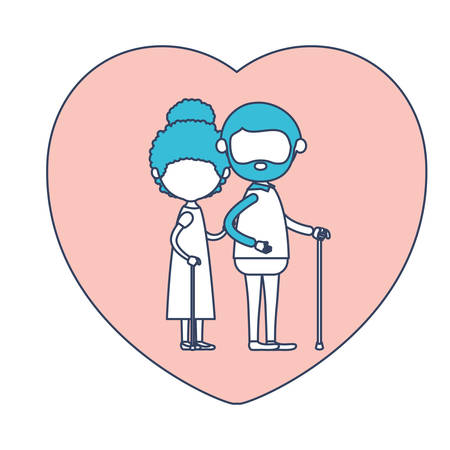 bun: faceless caricature full body elderly couple in heart shape greeting card embraced with bearded grandfather in walking stick and grandmother with curly bun hair in color section silhouette vector illustration Illustration