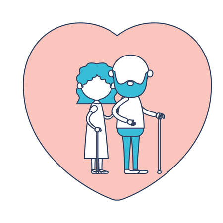 embraced: faceless caricature full body elderly couple in heart shape greeting card embraced with bearded grandfather in walking stick and grandmother with wavy hair in color section silhouette vector illustration