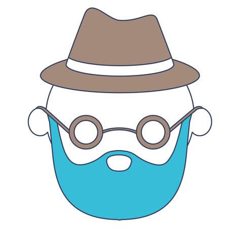 カラーセクションシルエットベクトルイラストでひげとメガネを使用した顔のない似顔絵の高齢者はげ祖父