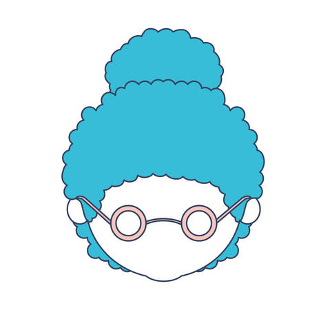 faceless caricature grandmother with a curly bun hair and glasses in color section silhouette vector illustration