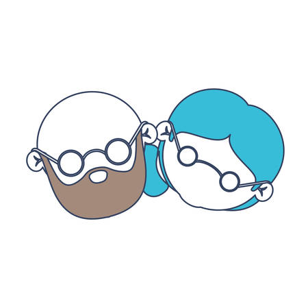 faceless caricature elderly couple bald grandfather with beard and grandmother with glasses and side bun hairstyle in color section silhouette vector illustration