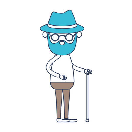 faceless caricature full body bearded elderly man with walking stick in clothes with hat and glasses in color section silhouette vector illustration