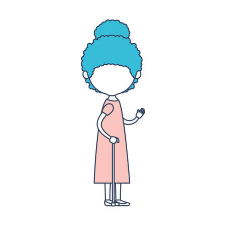 faceless caricature full body elderly woman with dress in walking stick with curly collected hairstyle in color section silhouette vector illustration