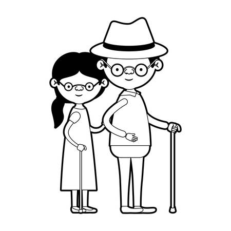 caricature full body elderly couple in walking stick and glasses with grandmother side ponytail hairstyle in dress and grandfather with hat in black silhouette sections vector illustration
