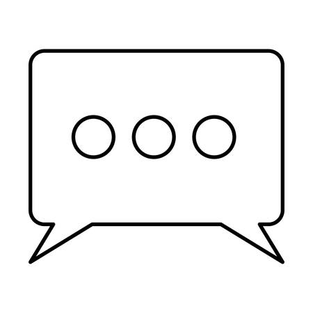 rectangle speech with tails and ellipsis symbol sketch silhouette in white background vector illustration Illustration