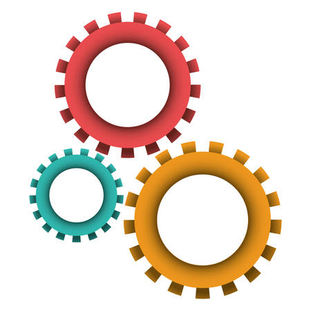 pinions set icon colorful in white background vector illustration