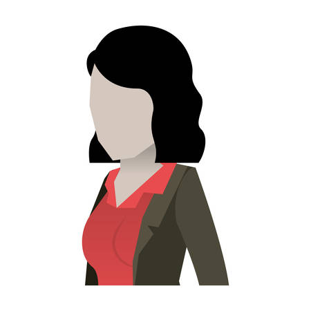 ceo: business woman faceless in jacket and half body and short hair in white background vector illustration