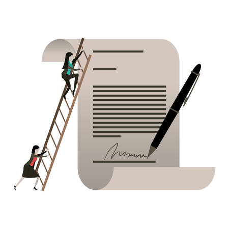 white background with businesswoman climbing wooden stairs in a big contract document with pen and firm vector illustration