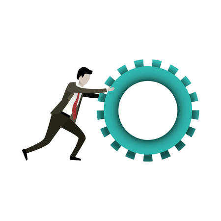 white background with businessman pushing a big gear cogwheel vector illustration Illustration
