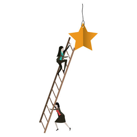 white background with businesswoman climbing wooden stairs to reach a star vector illustration