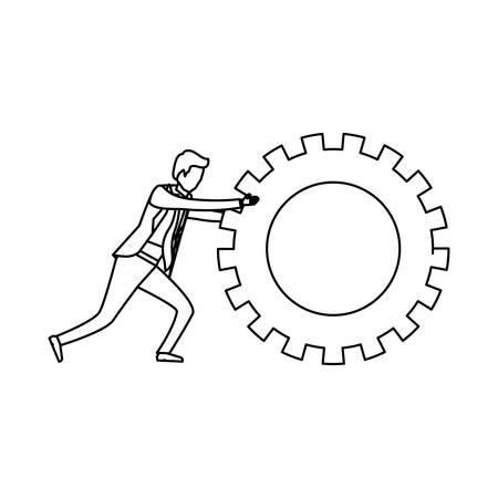 cogwheel: white background with monochrome businessman pushing a big gear cogwheel vector illustration