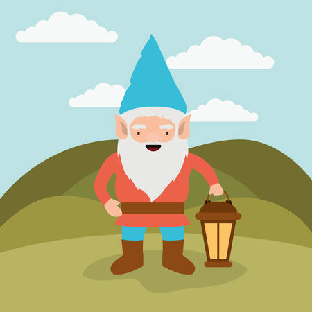 gnome fantastic character with hand lamp in mountain landscape background vector illustration