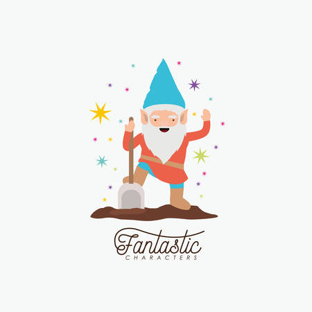Gnome fantastic character with shovel and colorful sparks and stars on white background vector illustration