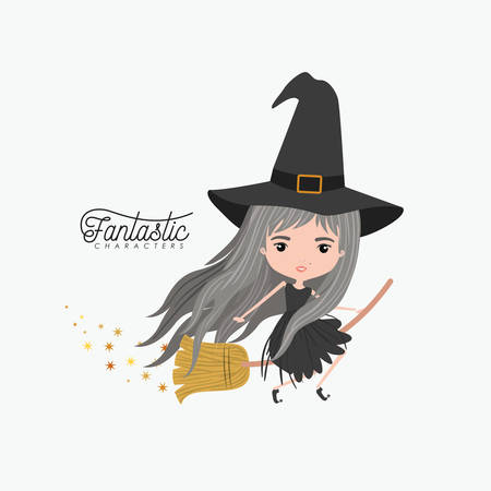 Witch riding a broomstick icon. Illustration