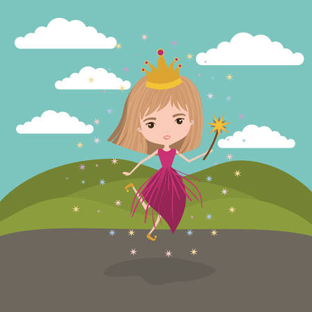 princess fairy fantastic character with crown and magic wand in mountain landscape background vector illustration