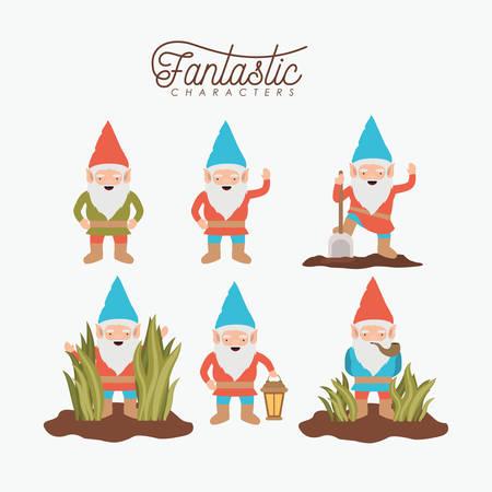 Set of gnome fantastic character illustration.
