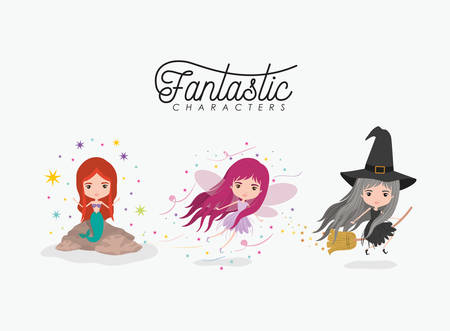 girly fantastic character set of mermaid fairy and witch on white background vector illustration Illustration