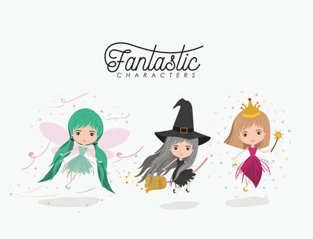 crone: girly fantastic character set of princess fairy and witch on white background vector illustration Illustration