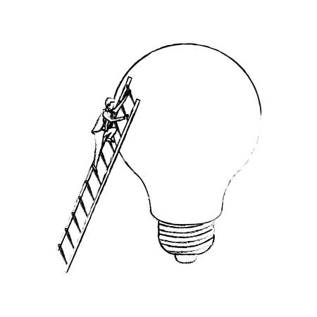 businessman climbing wooden stairs in a big light bulb silhouette blurred monochrome vector illustration
