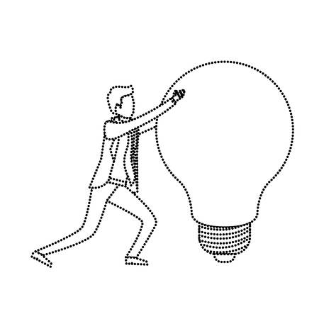 businessman pushing a big light bulb monochrome silhouette dotted vector illustration Illustration