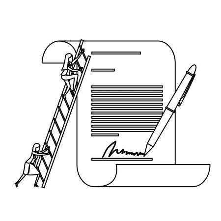 firma: Businesswoman climbing wooden stairs in a big contract document with pen and firm monochrome silhouette dotted vector illustration.