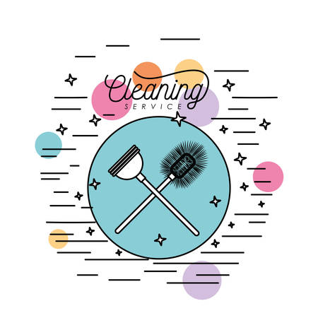 bathroom brush and toilet pump cleaning service silhouette in circular frame with color bubbles and decorative stars and lines on white background vector illustration