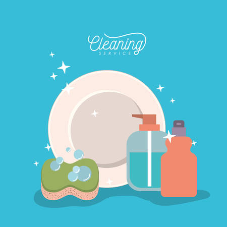 Dish and elements cleaning service on color background vector illustration. Illustration